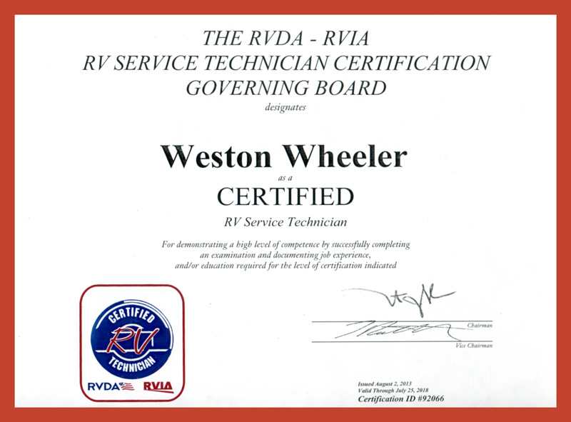 Weston Wheeler RV Certification
