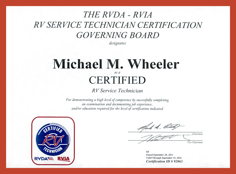 Mike Wheeler RV Certification
